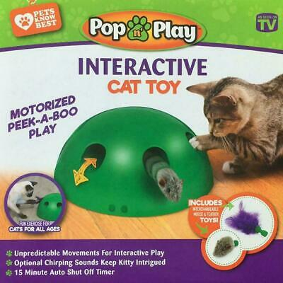 Automatic Pop N Play Interactive Motion Cat Toy Mouse Tease Electronic Pet