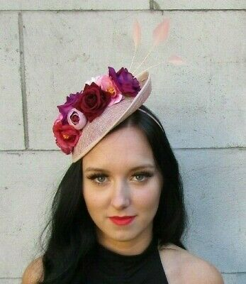 Blush Nude Pink Fuchsia Burgundy Red Feather Flower Disc Hat Fascinator 7609