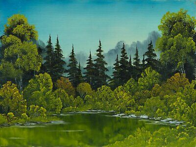 Bob Ross Meadow Lake Signed Original Painting Contemporary Art