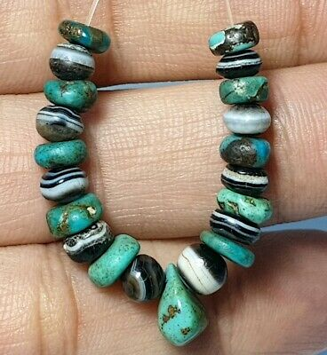 21 Ancient Sulemani Bhaisajyaguru Agate & Antique Natural Turquoise Disc Beads
