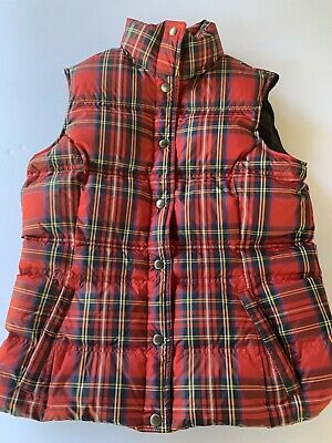 Lands End Puffy Vest Red Plaid Size Small
