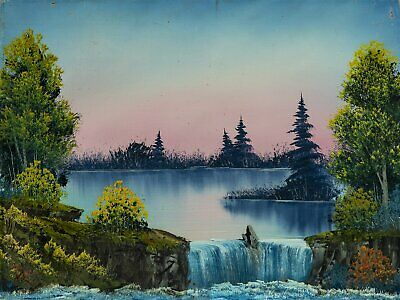 Bob Ross Misty Waterfall, Signed Original Painting Contemporary Art