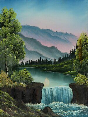 Bob Ross Mountain Waterfall Signed Original Painting Contemporary Art