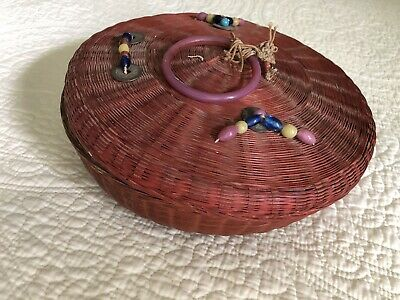"Vintage Antique Chinese Sewing Basket 12"" - with Beads & Coins"