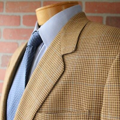 Tom James Holland & Sherry Brown Blue Plaid Sportcoat Blazer 100% Wool 45R