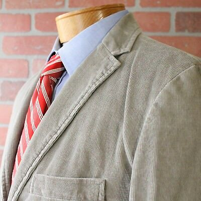 J Crew Gray Brown Vintage Cord Corduroy Sportcoat Blazer 100% Cotton Medium