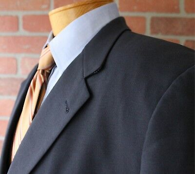 Burberry London Navy Blazer Suit Coat Jacket 100% Wool Made in USA 48L