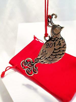 AVON 2014 PARTRIDGE PEWTER ORNAMENT  FINE COLLECTIBLE in Red Velvet Pouch.