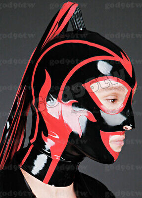 100% Latex Rubber Gummi Mask Hood 0.8mm Catsuit Bodysuit Suit With Trim Zentai
