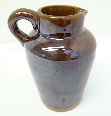 Antique Old Glazed Brown Pottery Medium Sized Pitcher Creamer Kitchen Used