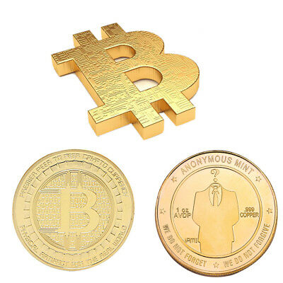 3mm Gold Bitcoin Commemorative Round Collector Coin Bit Coins Collection