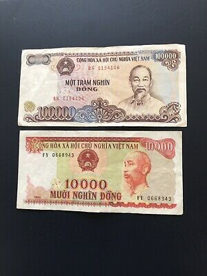 Various Circulated Vietnamese Bank Notes Depicting Portrait Of Ho Chi Minh.