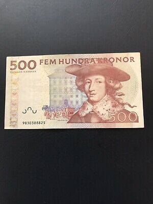 Circulated 500 Denomination Swedish Kronor Bank Note. Ideal For Collection.