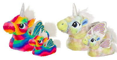 Womens Girls Novelty 3D Rainbow Unicorn Slippers Wings Mini Me Ladies Kids Size
