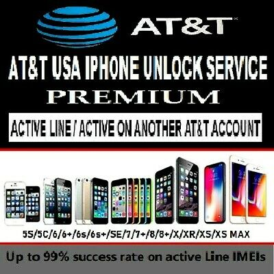 At&T Usa Iphone 7+/8/8+/X/Xr/Xs/Xs Max Unlock Service* Active On Another Account