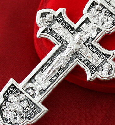 Big Men Save And Protect Prayer Russian Orthodox Sailors Cross Silver 925. Rare