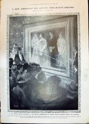 Old 1908 Gilded Frame Beauty Competition Earl'S Court King Ludwig Bav 20th