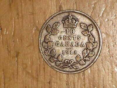 Canada 1913 SL silver 10 Cents coin Very Good nice