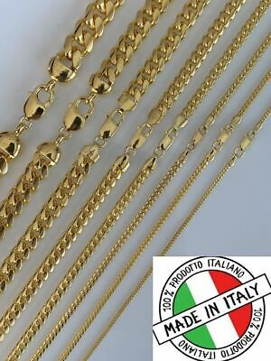 Mens 14k Gold Over Solid 925 Sterling Silver Miami Cuban Chain 2-12mm Necklace