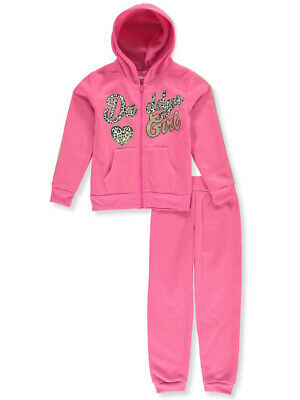 Girls Luv Pink Girls' Leopard Daddy's Girl 2-Piece Sweatsuit Pants Set