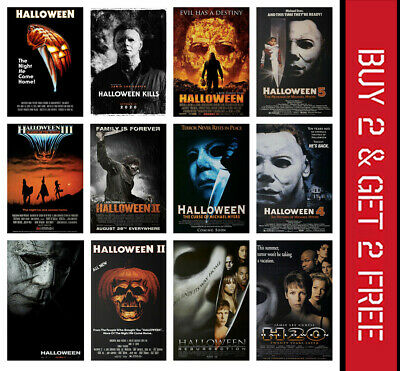Halloween Classic Horror Movie Posters 1978-2020 Print Michael Myers A3 A4 Size