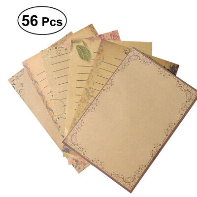 56 Pcs Letter Paper Vintage Crafts Stationery for Students Study School Supplies