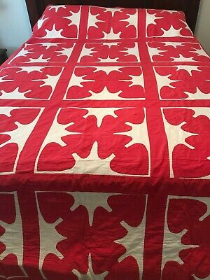 """NICE QUILTED 1880's Red & White Applique Antique Quilt Hand Stitched 60""""x96"""""""
