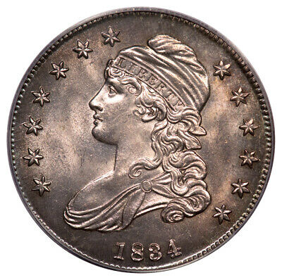 1834 50C Large Date Large Letters Capped Bust Half Dollar PCGS OGH MS64 O-111