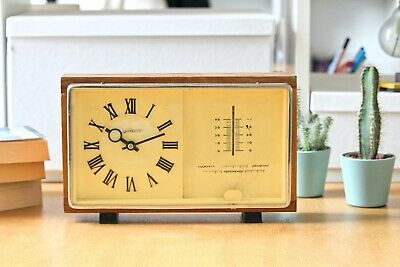 Vintage Wooden Soviet Clock with Thermometer and Barometer Large Mantel Clock