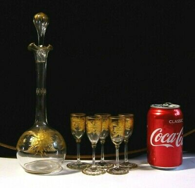 Antique Victorian Cut & Gilded Fern Ware Glass Decanter with 5 Liqueur Glasses