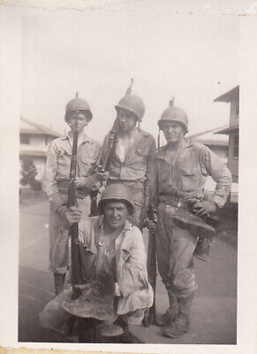 Original WWII Snapshot Photo 4 NAMED GI's M1 GARAND RIFLES BOOTS at Fort Knox 2