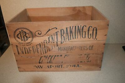 "Vintage Antique Independent Baking Company 20"" X 14"" X 13""  Advertising Crate"