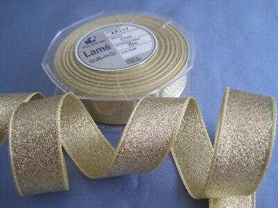Full 20 metre roll Berisfords sparkly Gold Lame Ribbon 22mm wide. Sewing crafts