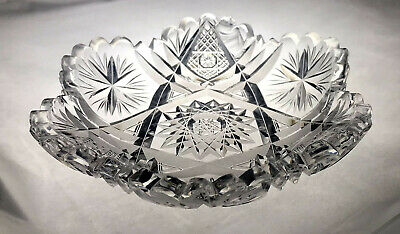ABP American Brilliant Cut Crystal Glass Berry Candy Bowl Nappy Dish 6""
