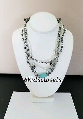 """Premier Designs Jewelry COOL WATERS 16""""-20"""" Antique Silver Plated Necklace New"""