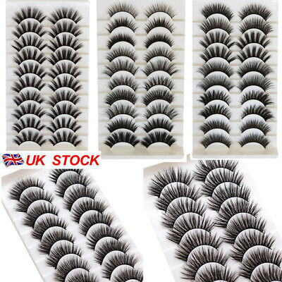 5Pair 3D Mink False Eyelashes Wispy Cross Long Thick Soft Fake Eye Lashes  UK