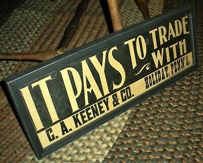 """ANTIQUE c. 1920 ORIGINAL """"IT PAYS TO TRADE WITH…"""" BROADSIDE SIGN – FRAMED vafo"""