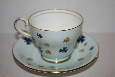 AYNSLEY Blue White and Gold Teacup and Saucer