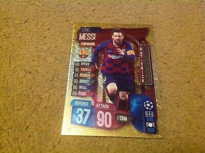 Match Attax 2019/20 Champions Europa League Messi Hat-Trick Hero Card Mint Foil