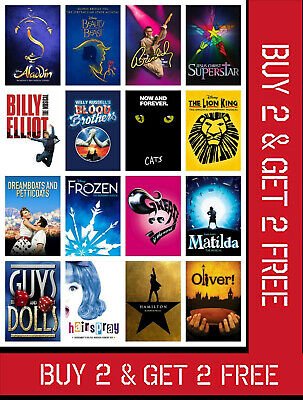 Classic Musical Theatre Show Posters Uk Music Wall London Art Print A3 A4 Size