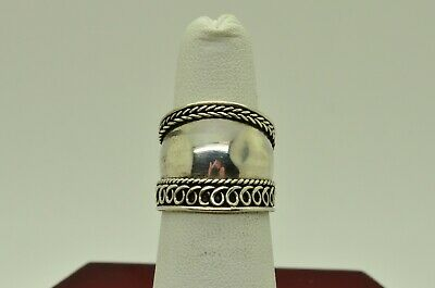 Sterling Silver Wide W/Etched Rope & Swirl Border Design Ring Sz 5.5#Fmg557