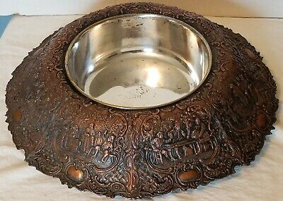 Centerpiece Bowl EG Webster & Son Large Repousse Silverplate Copper Antique Rare