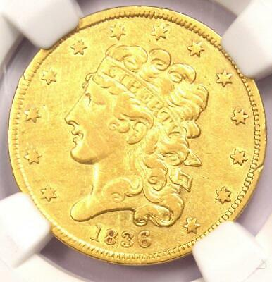 1836 Classic Gold Half Eagle $5 - NGC XF Detail - Rare Certified Gold Coin!