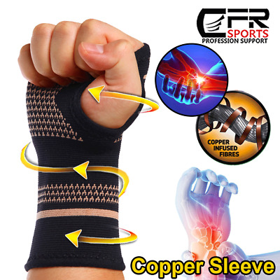 Wrist Support Hand Palm Brace Compression Glove Sleeves Arthritis Copper Infused