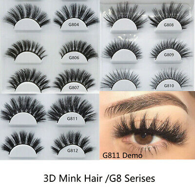 SKONHED 5Pairs 3D Faux Mink Hair False Eyelashes Wispy Fluffy Lashes Handmade ~