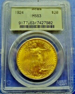 1924 $20 Gold Double Eagle St Gaudens Pcgs Ms 63 Early Ogh Pq