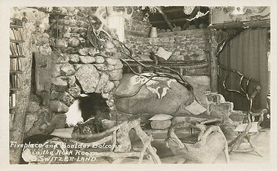 CA * Switzer-Land RPPC  Fire Place & Balcony Interior c1920s Los Angeles Co.