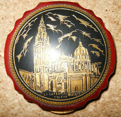 Decorative Mirrored Powder Makeup Compact Case La Catedral Toledo Theme Pretty