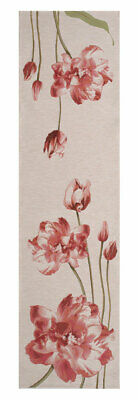 An Armful of Red Tulips White Table Runner Decorative European Woven Tapestry
