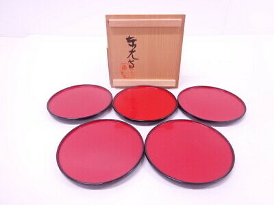 4258398: Japanese Tea Ceremony / Circle Tray Rising Sun / Set Of 5